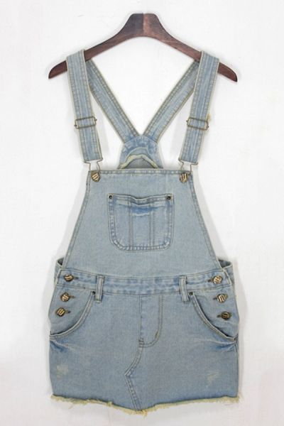 Denim Suspender Skirt OASAP.com