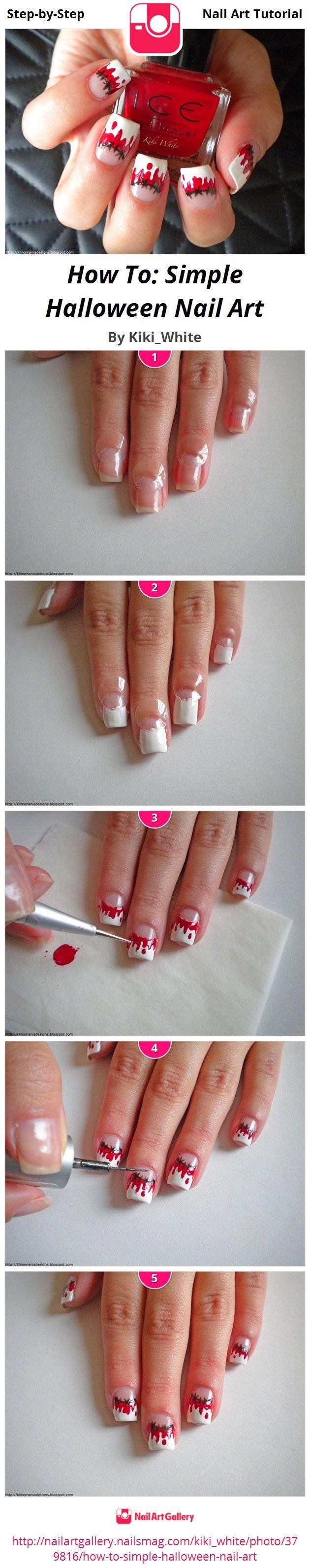 How To: Simple Halloween Nail Art by Kiki_White - Nail Art Gallery Step-by-Step Tutorials nailartgallery.nailsmag.com by Nails Magazine www.nailsmag.com #nailart