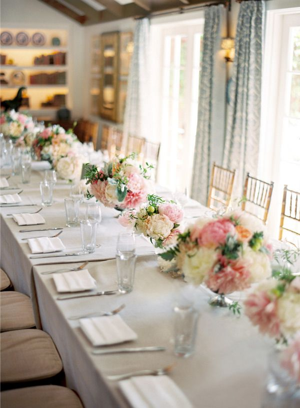 gorgeous: Tables Sets, Floral Design, Wedding, Peonies Centerpieces, Events Design, Flowers, Blushes Peonies, Long Tables, Pink Peonies