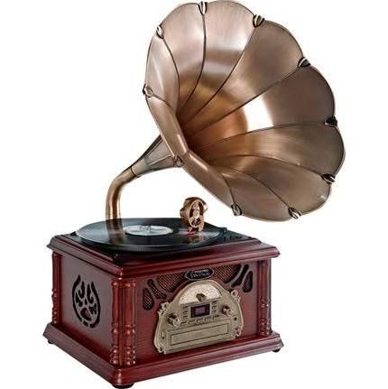 working record player with horn speaker