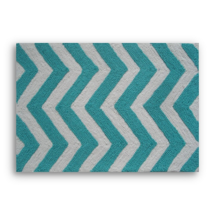 Chevron Accent Rug: Chevron Turquoise Accent Rug/