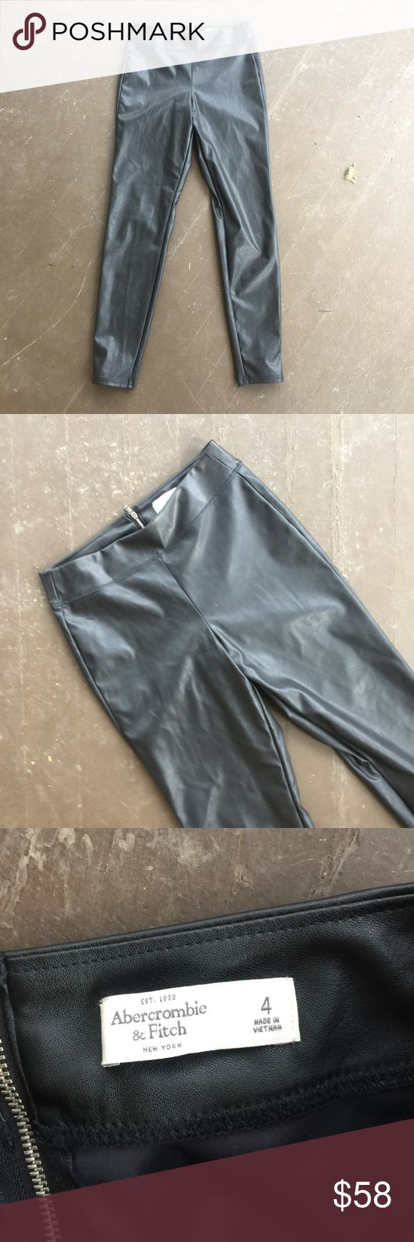 Leather Look Leggings Skinny Leg Pants Brand-new without tags Abercrombie and Fitch black leather look pants. Zipper closure. Size 4 runs true to size. No trades. Ships within 24 hours. Abercrombie & Fitch Pants Skinny
