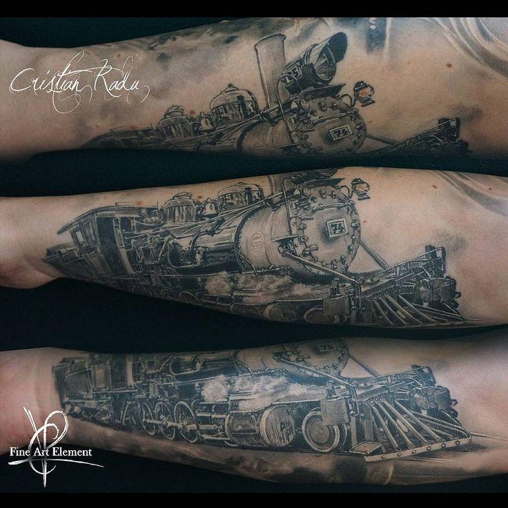 old train realistic black&white tattoo by Cristian Radu Tattoo Artist