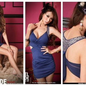 SEXY DRESS - 6226BLUE | Baju Korea, Baju Import, Grosir Baju Korea, Grosir Baju Import