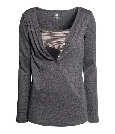 Long sleeved nursing tops are great for the weather as it cools down. This dark grey would pair well with any bright colored baby carrier! ~Diane