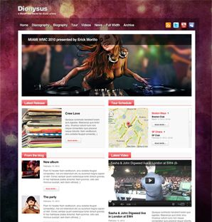 Dionysus WordPress theme for music artists