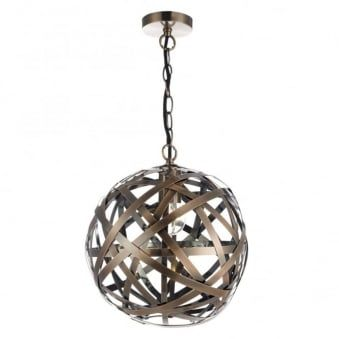 Voyage Ball Pendant with Woven Antique Copper Bands