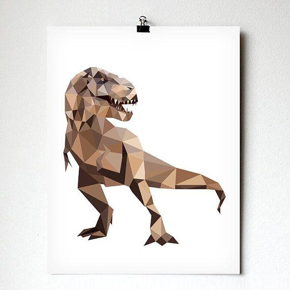 Trex art print - Geometric - Dinosaur art - Kids room decor - Toddler room