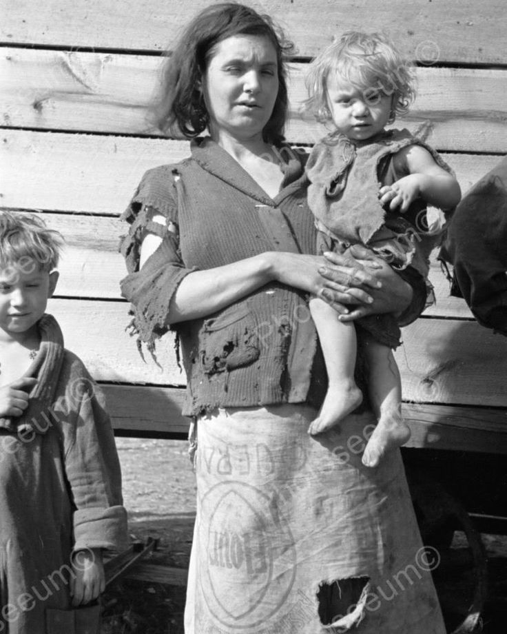 Mom In Flour Sack Skirt Holds Baby 8x10 Reprint Of Old Photo