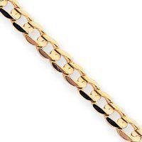 14k 4.5mm Open Concave Curb Chain Bracelet - 7 Inch - Lobster Claw - JewelryWeb JewelryWeb. $475.80