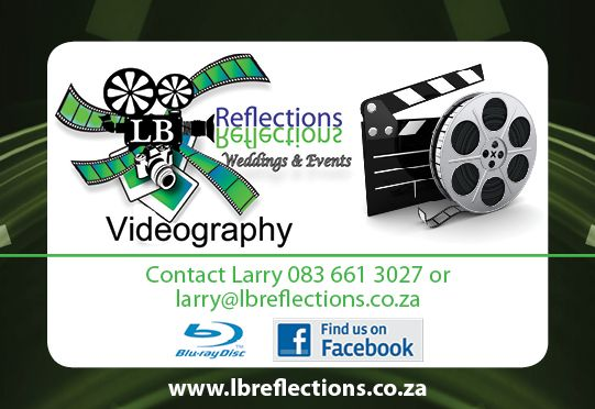 Larry from LB Reflections has an unobtrusive and discreet style of filming enabling you to relive your big day through the eyes of your guests.  Come meet Larry, along with all our other creative and talented vendors, at the Midlands Bridal Fair being held at Lythwood Lodge on Sunday, 19 February 2017.  Don't miss out - book your ticket/s online: http://midlandsbridalfair.com/online-tickets/