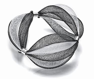 Bracelet |  Art Jewelry Online Designs.  Nylon mesh and sterling silver.