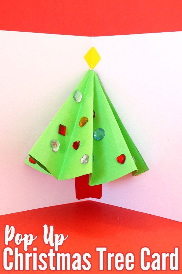 Pop up christmas tree card that kids can make kids pop for Christmas card christmas tree craft