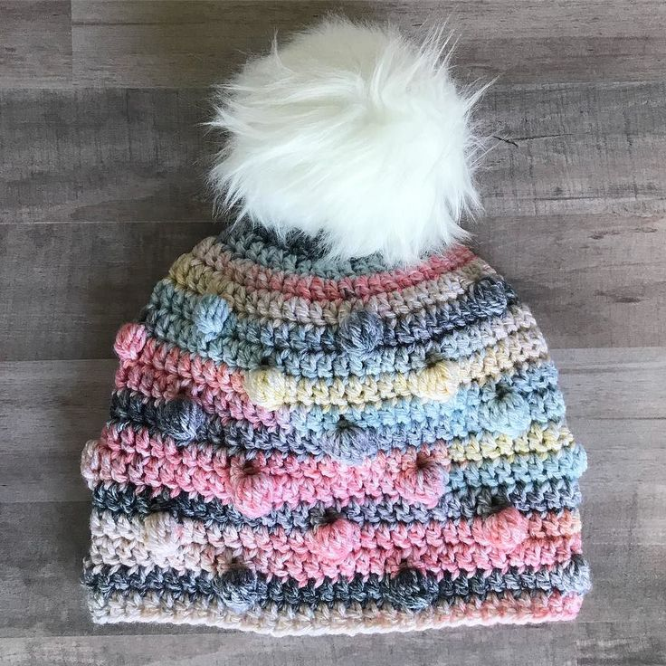 Three things I love: bobbles this variegated yarn from @hobbylobby and a fur Pom! I have instructions for the bobbled hat and how to make your own fur pom pom for cheap all on the blog!  #freepattern #thefriendlyredfox #furpompom #ilikebigpomsandicannotlie