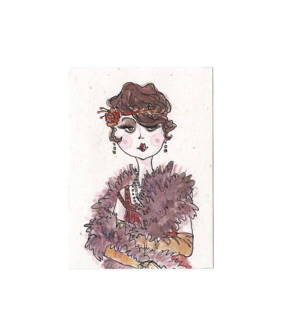 roaring 20's inspired aceo art card Chloe  by ThreeEyesStudio, €4.00
