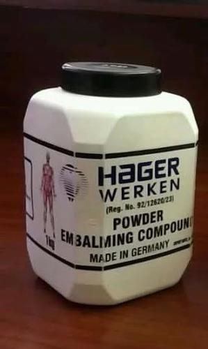 Hager & Werken Embalming products +27823985329 : Hager werken embalming powder +27823985329 made in Germany, available in Johannesburg South Africa.  Embalming is the art and science of preserving human remains by treating them (in its modern form with chemicals) to forestall decomposition. The intention is to keep them suitable for public display at a funeral, for religious reasons, or for medical and scientific purposes such as their use as anatomical specimens.[1] The three goals of ...