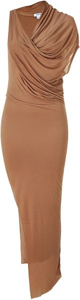 Camel Asymmetrical Jersey Dress dressmesweetiedarling