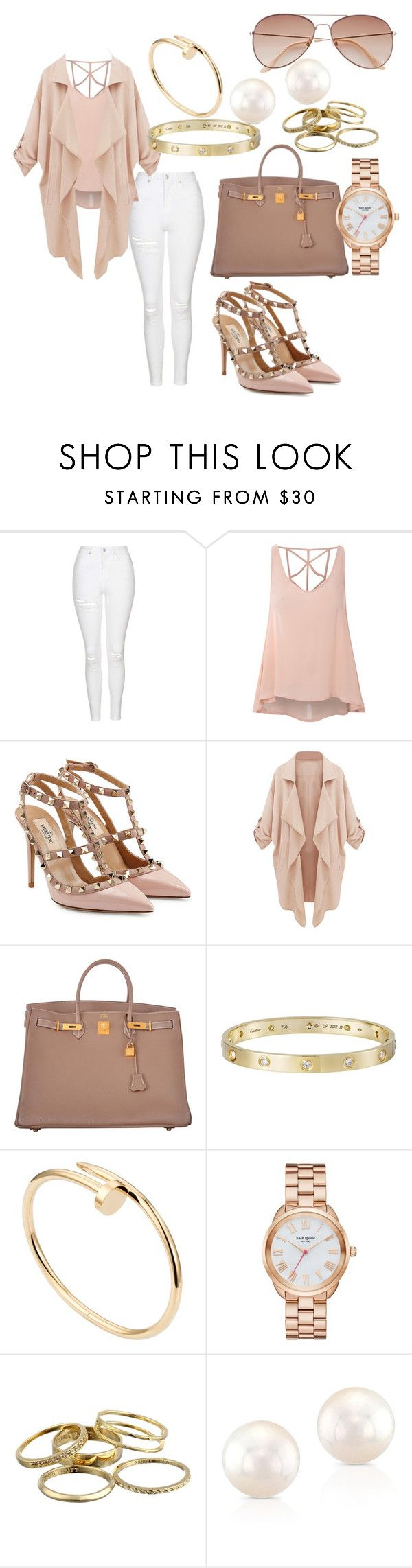 """""""Untitled #118"""" by parrislyonnie ❤ liked on Polyvore featuring Topshop, Glamorous, Valentino, Hermès, Cartier, Kate Spade, Kendra Scott and H&M"""