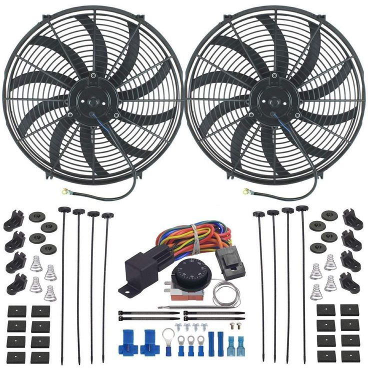 "Dual 16"" Inch Electric Radiator Fan-S Adjustable Thermostat Fan Controller Kit"