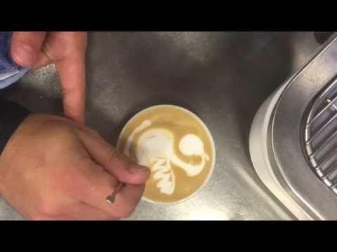 Latte Art - dragon & tulip with swans