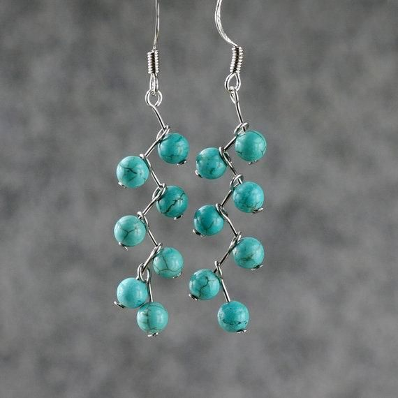 Turquoise beaded dangle earrings. Craft ideas from LC.Pandahall.com  #pandahall