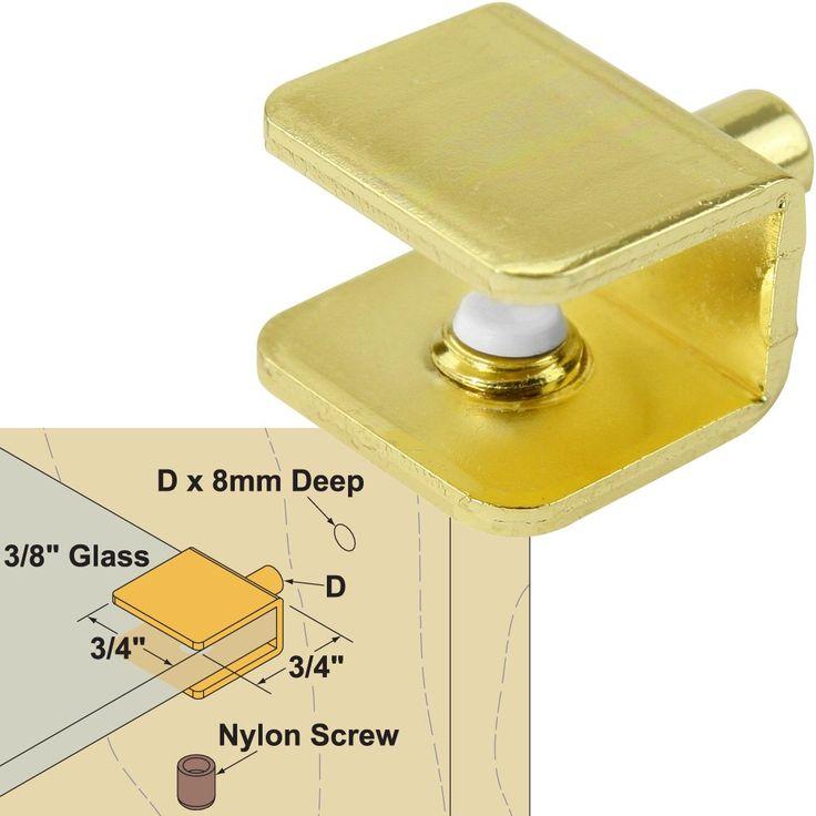 "Platte River 941616, Hardware, Shelf And Support, Shelf Pins, 3/8"" Glass Shelf Support Brass Plated, 4 Each"