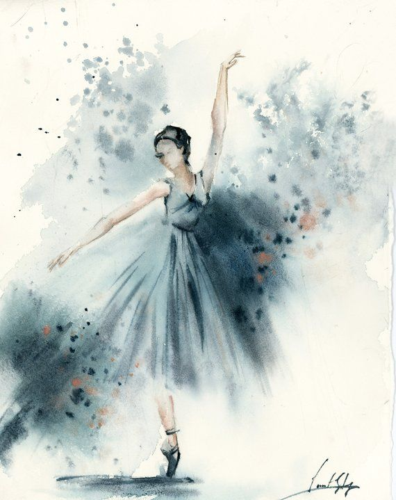 Ballerina In Blue Original Watercolor Painting Abstract Realism