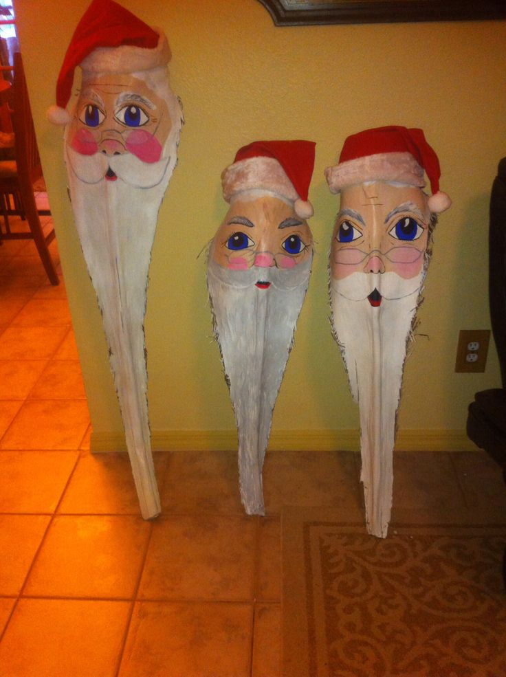 Palm frond Santas I hand painted