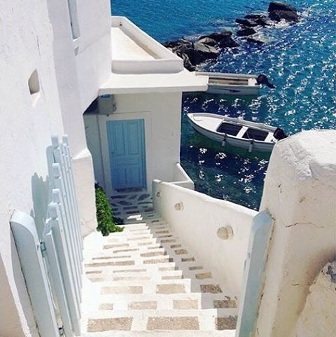 Traditional Cycladic stairs near the sea , at Sikinos island (Σίκινος) . Dreamy White & Blue ❤️. Very peaceful and small island with a few beaches and hiking paths to explore !