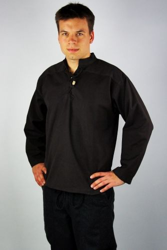 Hemd mit Stehkragen, schwarz von Leonardo Carbone