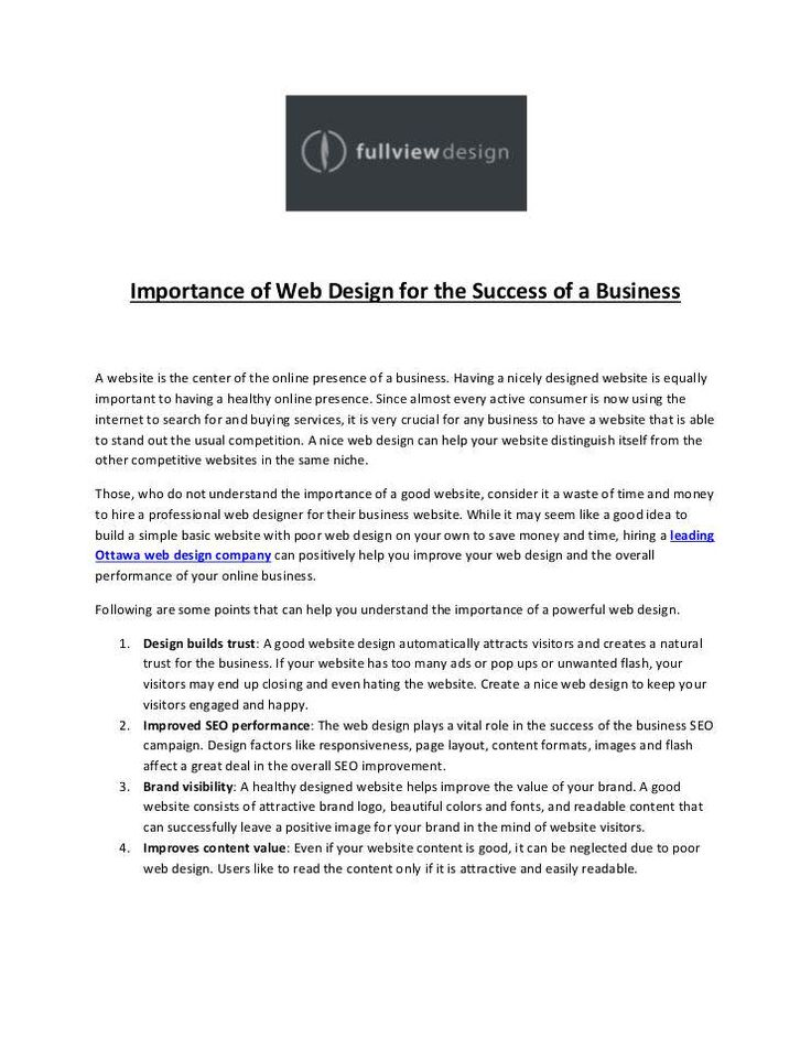"""Importance of Web Design for the Success of a Business"" published by ""jhonsmithfullview"" on @edocr"