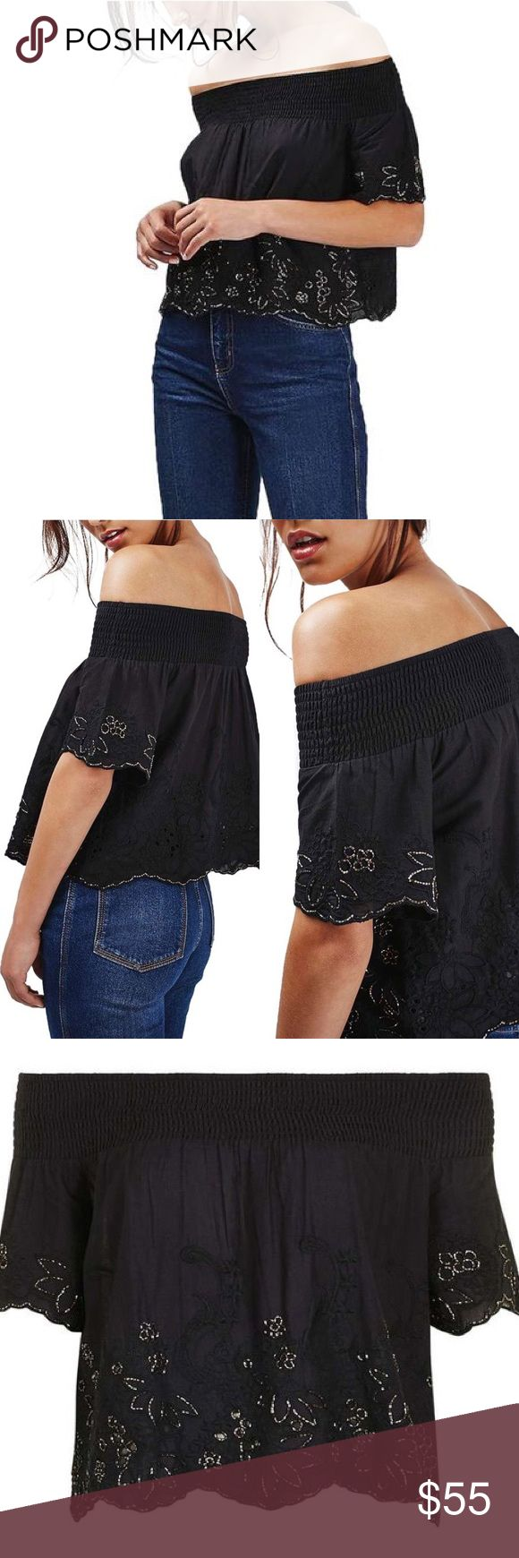 "TOPSHOP Floral Embellished Off the Shoulder Top Glistening silver beads trace the embroidered floral cutwork border of a smocked off-the-shoulder top that's perfect for hot days with its billowy silhouette and crisp cotton fabrication. * ~18"" center front length * Off-the-shoulder neck * Short sleeves * 100% cotton * Hand wash cold, dry flat Garment is labeled: EUR 42, US 10, UK 14. Fits like a US 10-12.  🚫NO TRADES🚫 Topshop Tops"