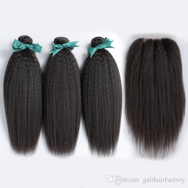 Kinky Straight Hair Weft With Closure 7a Quality Unprocessed Brazilian Indian Malaysian Peruvian Human Hair Natural Color Dhl Black Hair Weave Black Hair Weaves From Galihairfactory, $31.88| Dhgate.Com