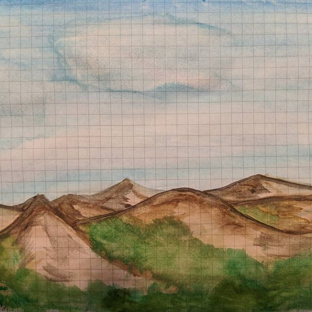 More mountains a view of rolling hills stretching into the distance. Challenges lie ahead of everyone. What really matters is how you handle yourself on the climb. . . #arttherapy#mountains #kuretake#landscape #kuretakezig#practice#challenge #watercolor #mentalhealthawareness #bipolar #sotd#patience#tomoeriverpaper #waterbrush#anxiety#ink#doodle #watercolorpainting #color#painting#brushpen #mindfulness#random #roughdraft #calmdown#ocd#firstdraft #mentalhealth #realbrush #meditation