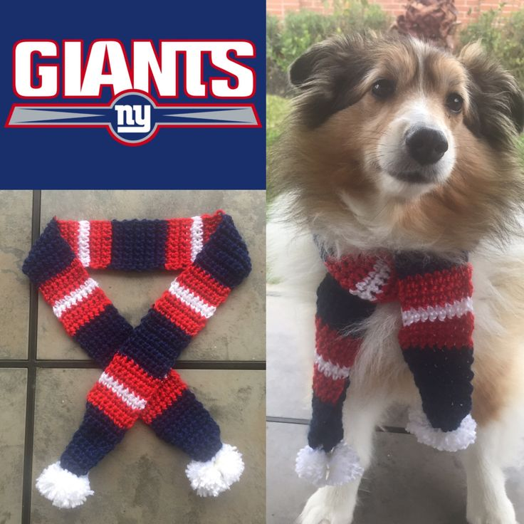 Giants Dog Scarf, New York Giants Dog Scarf, Giants, Dog Scarf, Pet Scarf, Giants Scarf, New York Football, Giants Football, NFL, Jets dog by TheHookster on Etsy