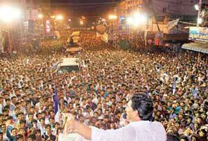 Jagan targets Chandra Babu Naidu, calls him 'big liar' http://www.thehansindia.com/posts/index/2014-03-21/Jagan-targets-Naidu-calls-him-%E2%80%98big-liar%E2%80%99-89694  Rajahmundry: 'Sixty-fiveyear- old N Chandrababu Naidu is giving false assurances to people, as he knows that it is his last election.
