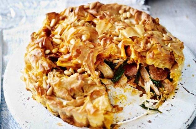 Chicken and chorizo filo pie