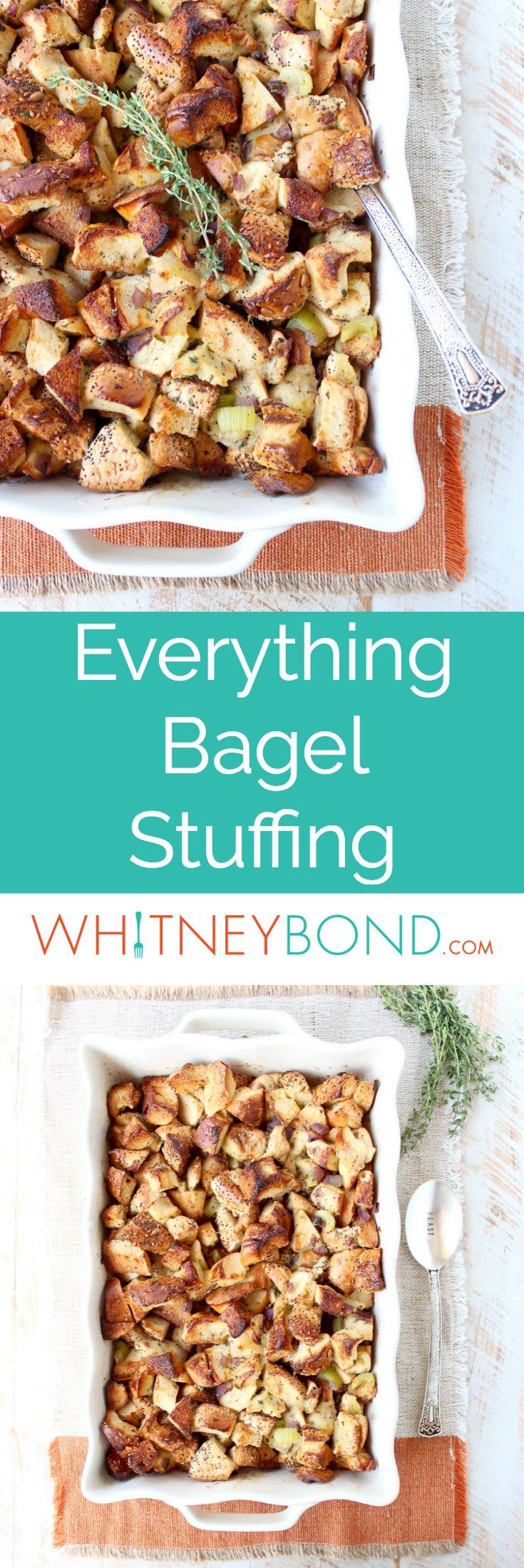 Everything Bagel Stuffing is a fun twist on traditional stuffing that's easy to make for Thanksgiving, Friendsgiving or as a side dish anytime of the year!