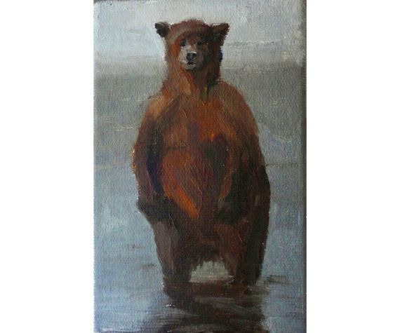 I love the colors in this painting, and I do love bears, too!   Original Oil Painting. Bear art by OilOxOil on Etsy, $55.00