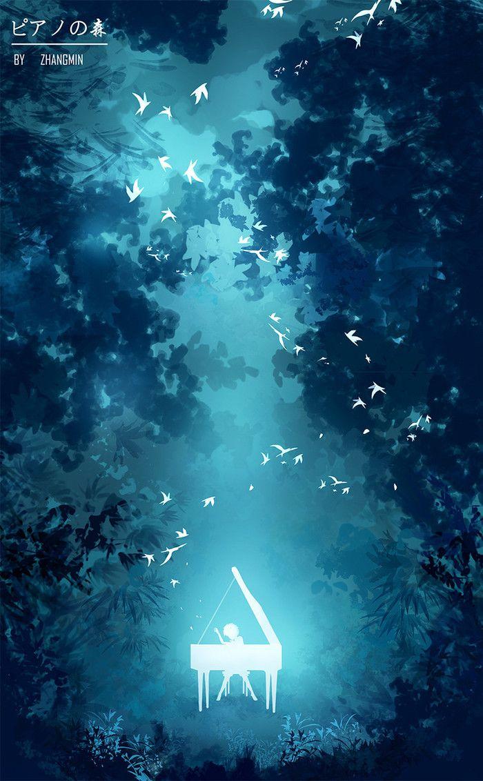蓝色 冷色系 唯美 二次元 漫画 p站 钢琴之森
