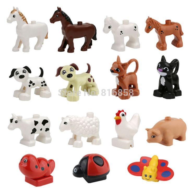 В наличии! животные Строительные Блоки Собака Кошка Корова Овцы Петух Свинья Бабочка Пони Детей Ролевые Игры Игрушки Детские Развивающие Игрушки #women, #men, #hats, #watches, #belts
