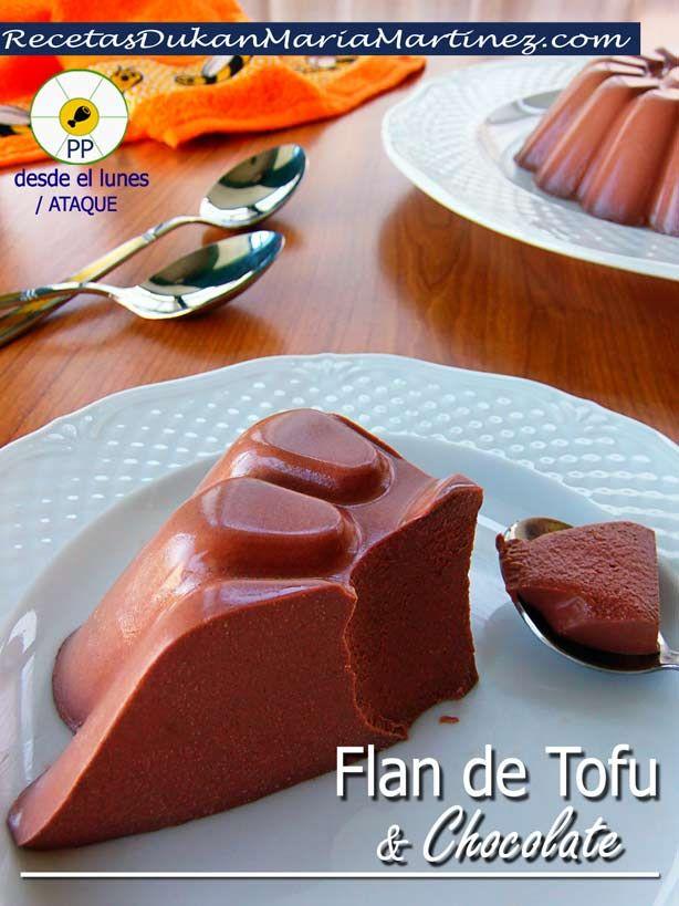 FLAN Dukan fase Ataque, sin huevo:  flan de tofu y chocolate