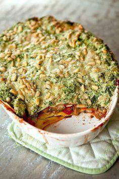 Vijfgroentelasagna : champignons, aubergine, rode paprika, tomaten en (diepvries)spinazie
