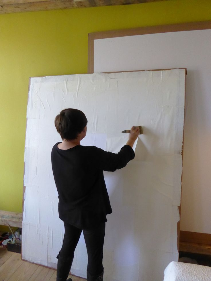 """""""Just Yvette"""" In her studio, prepping a panel"""