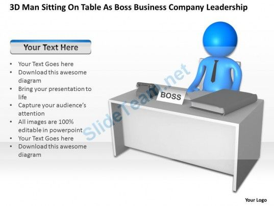 3D Man Sitting on Table as Boss Business Company Leadership Ppt Graphic Icon #Powerpoint #Templates #Infographics