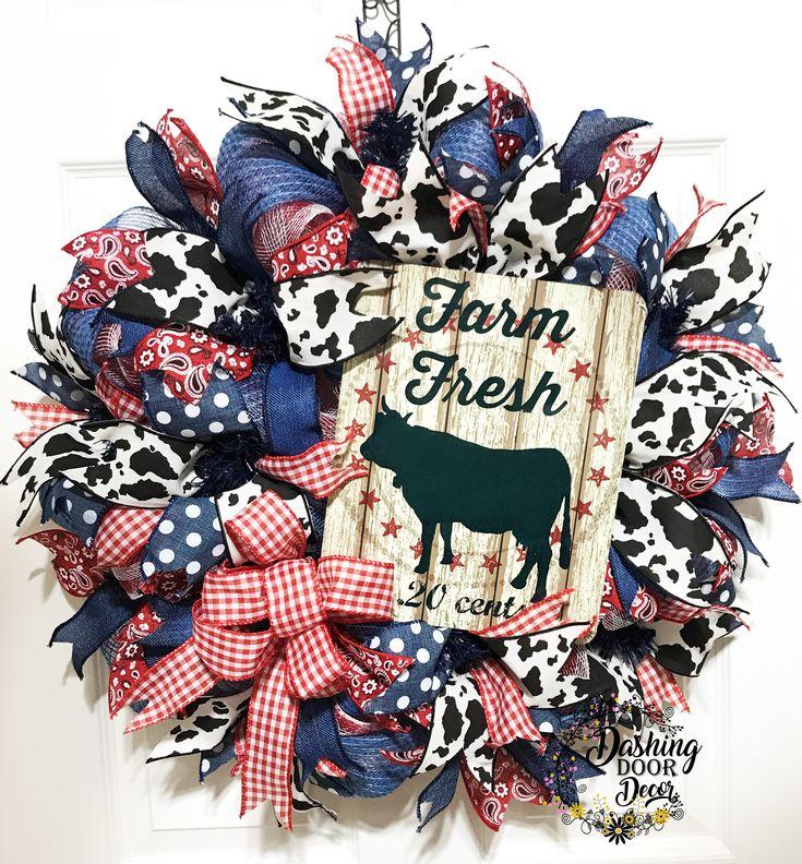 Custom Order Farm Fresh Country Cow Deco Mesh Wreath