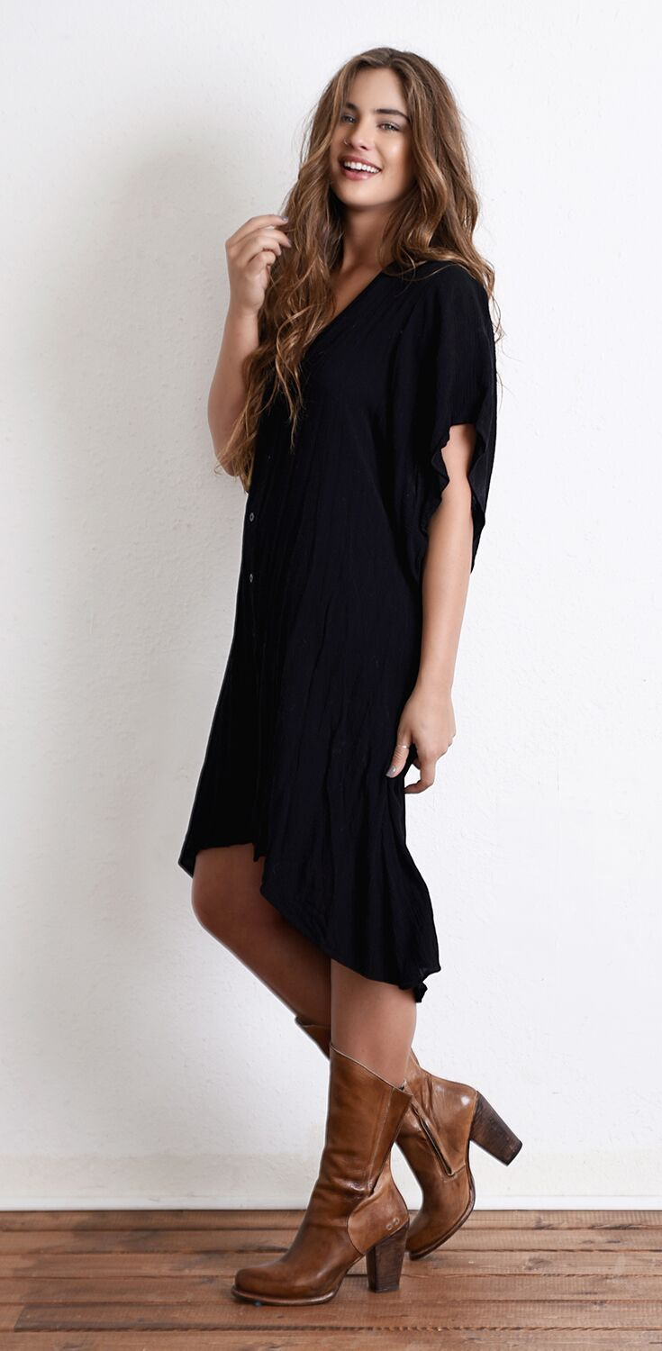 Black Oversized Midi Dress Styled With Tan Leather Bedstu
