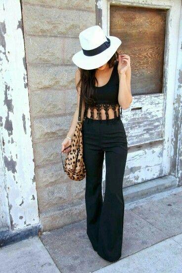 #Musculosa #flecos #tejidos #linda #pantalón #oxford #negro #black