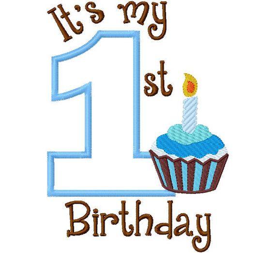 My First Birthday Cupcake Filled Boy One 1 Applique Design