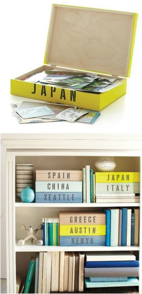 Use  stackable boxes for the souvenirs, brochures, photos, ticket stubs, etc you pick up on travels.  With Cool fonts & colors, these would look great mixed in on shelves & would give an organized, accessible place for your memories.